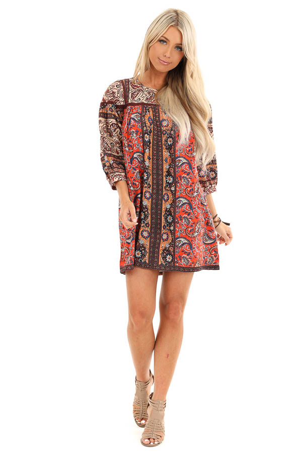 Orange Spice Paisley Printed Short Dress with Lace Details front full body