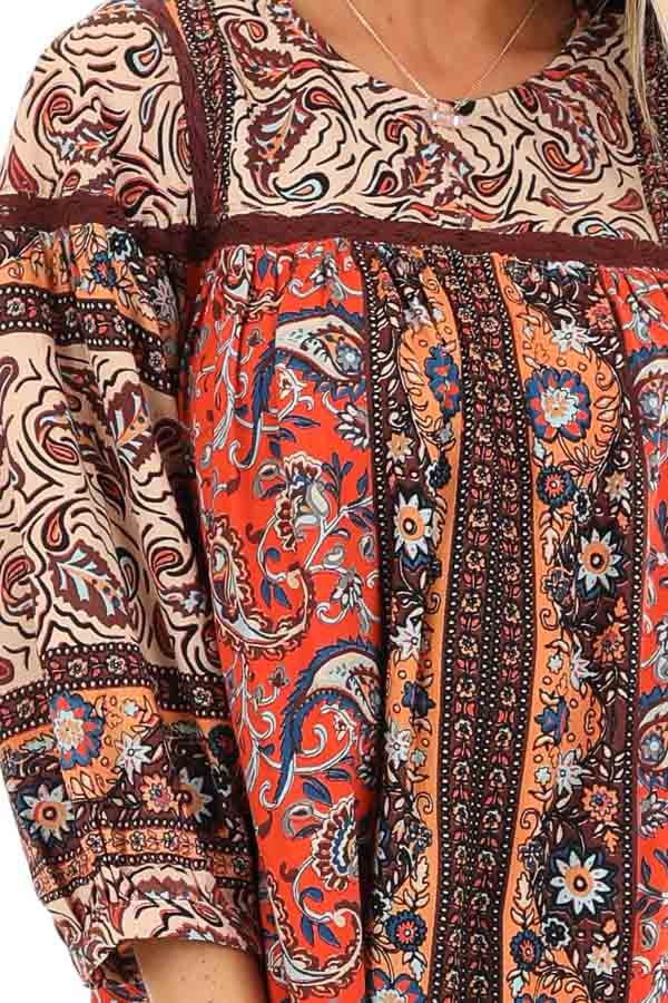 Orange Spice Paisley Printed Short Dress with Lace Details detail