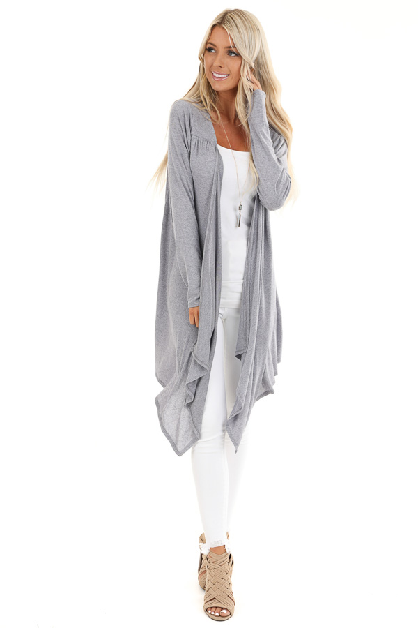 Heathered Slate Blue Open Front Draped Long Sleeve Cardigan front full body