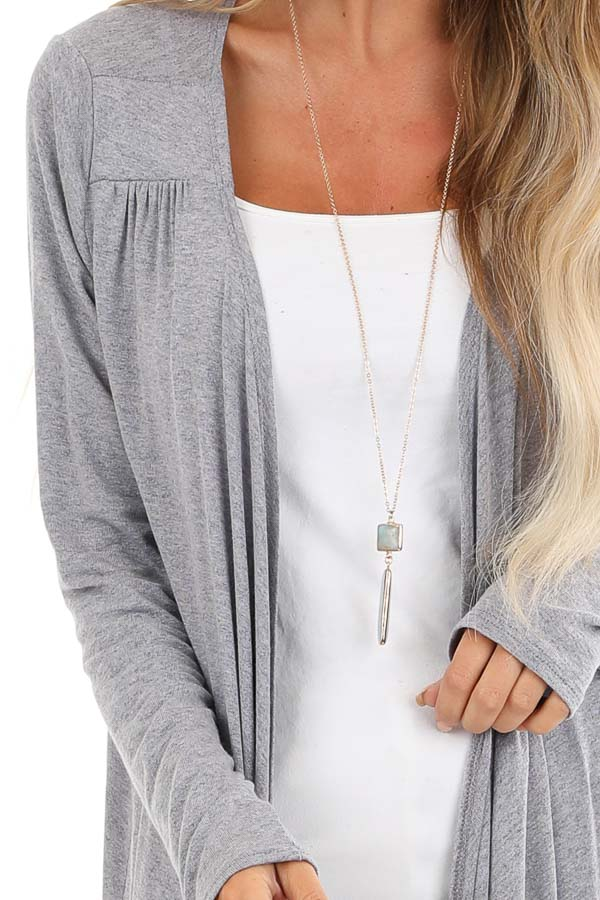 Heathered Slate Blue Open Front Draped Long Sleeve Cardigan detail