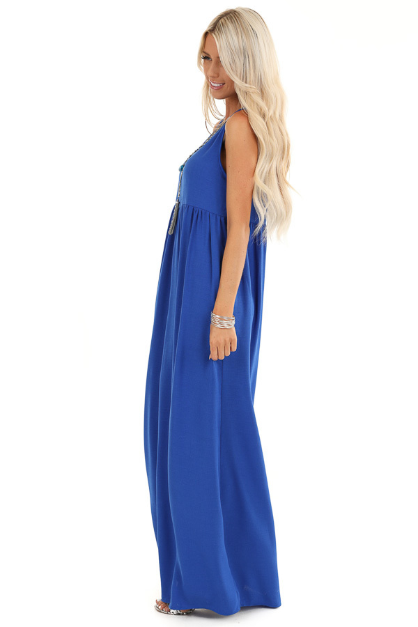Royal Blue Round Neck Sleeveless Loose Fit Maxi Dress side full body