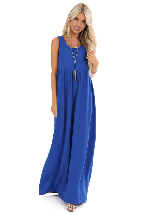 Royal Blue Round Neck Sleeveless Loose Fit Maxi Dress front full body