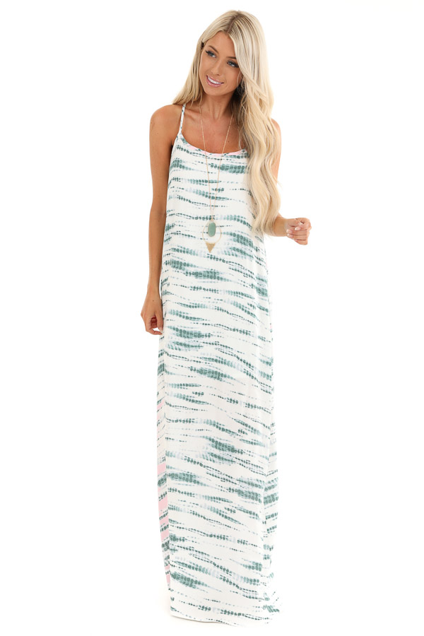 Forest Green and Blush Tie Dye Print Sleeveless Maxi Dress front full body