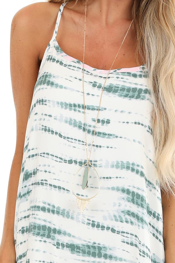 Forest Green and Blush Tie Dye Print Sleeveless Maxi Dress detail