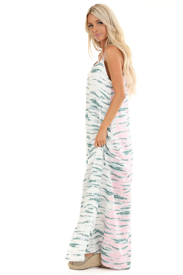 Forest Green and Blush Tie Dye Print Sleeveless Maxi Dress side full body