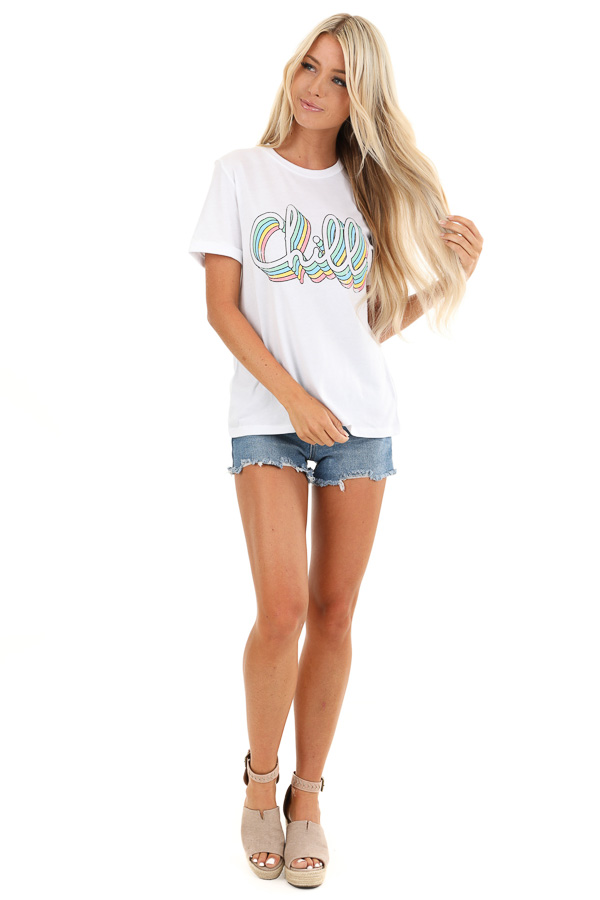 Coconut White 'Chill' Short Sleeve Graphic Tee front full body