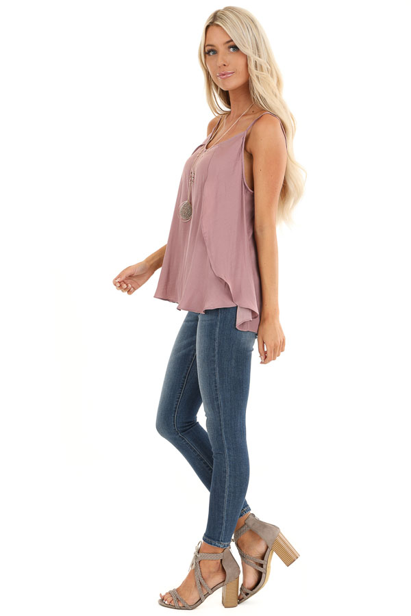 Mauve Silk V Neck Tank Top with Layered Sides side full body