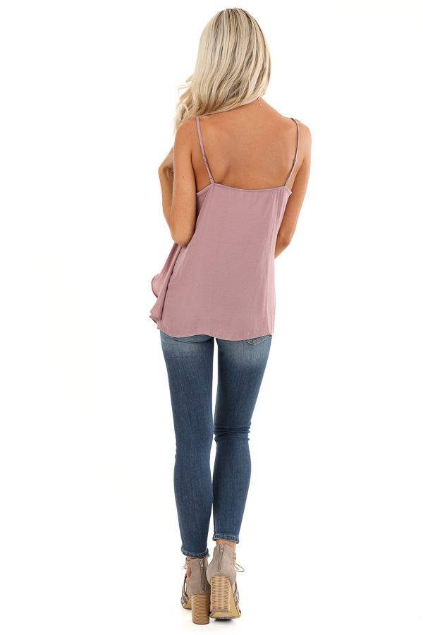 Mauve Silk V Neck Tank Top with Layered Sides back full body