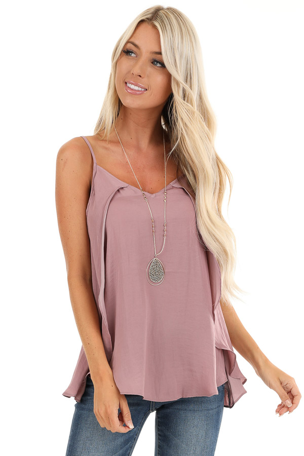 Mauve Silk V Neck Tank Top with Layered Sides front close up