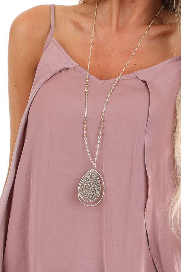 Mauve Silk V Neck Tank Top with Layered Sides detail