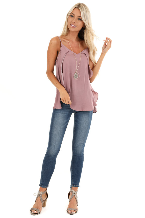 Mauve Silk V Neck Tank Top with Layered Sides front full body