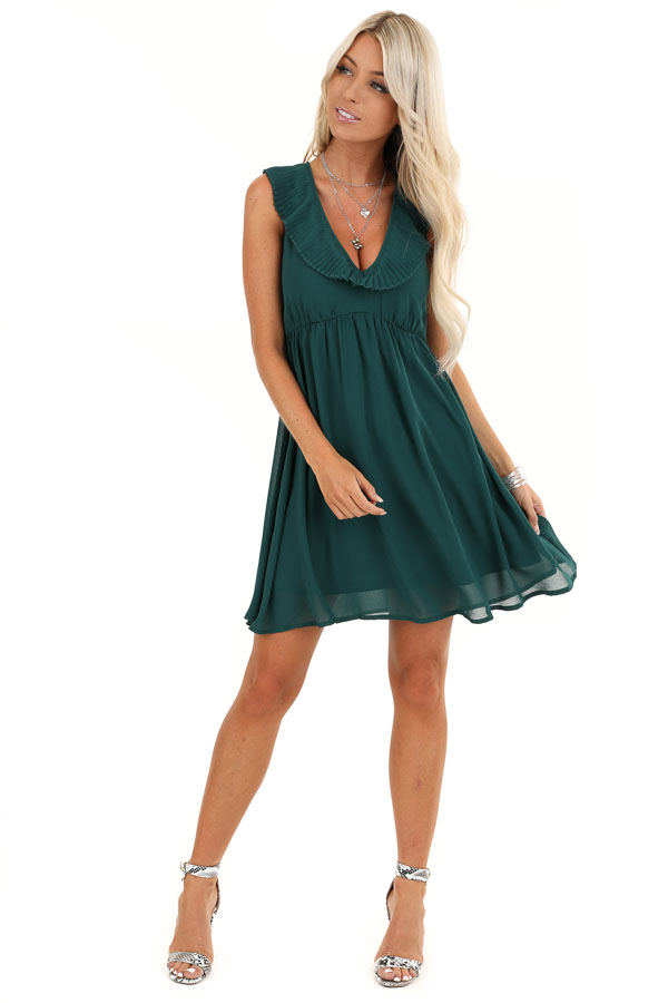 Hunter Green Sleeveless Mini Dress with Accordion Detail front full body