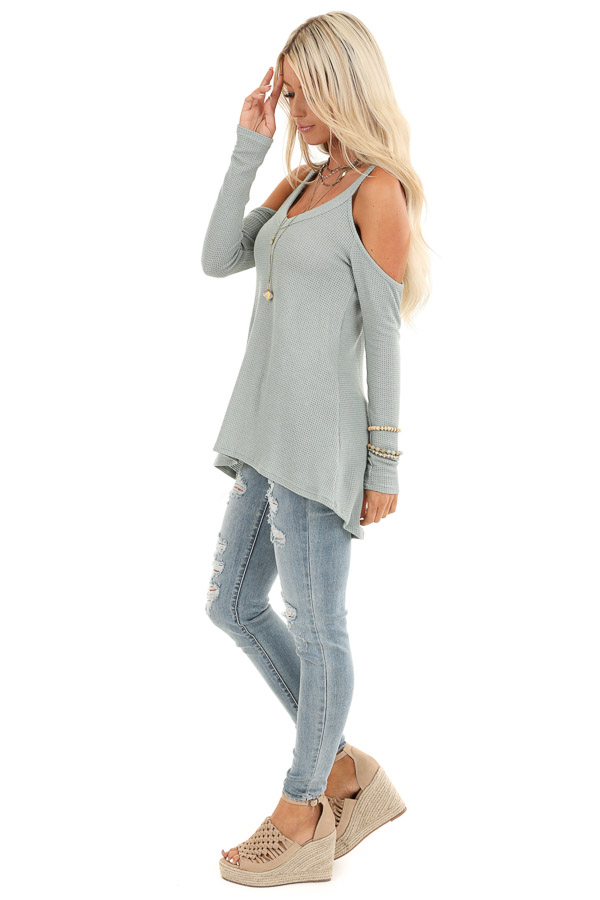 Sage Green Cold Shoulder Waffle Knit Long Sleeve Top side full body