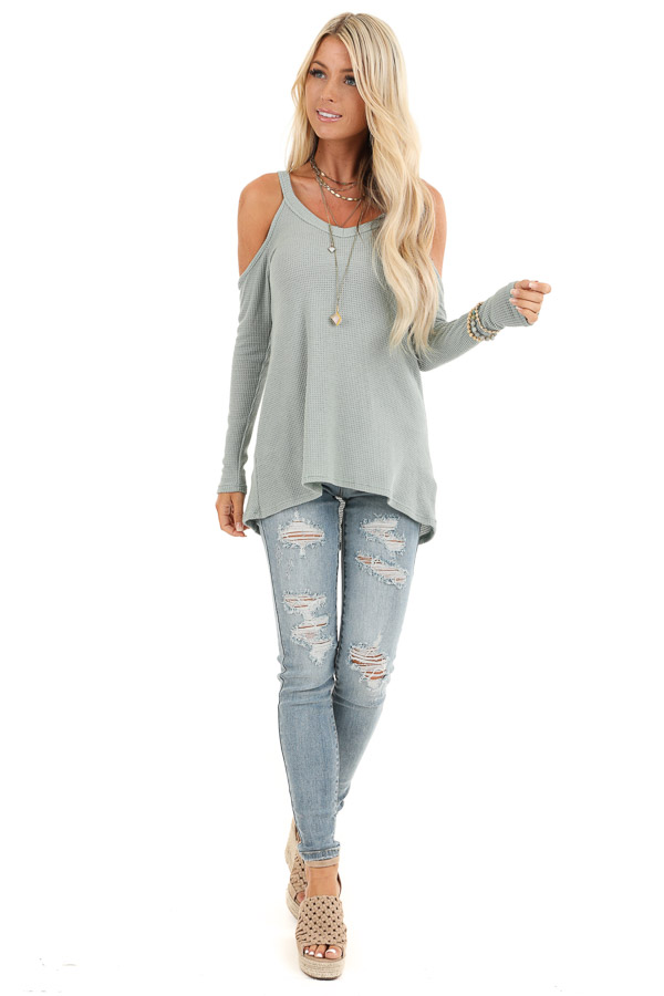 Sage Green Cold Shoulder Waffle Knit Long Sleeve Top front full body