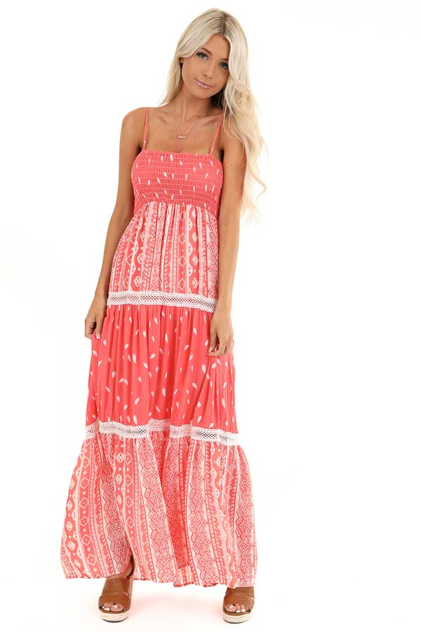 Coral Tribal Print Layered Spaghetti Strap Maxi Dress front full body