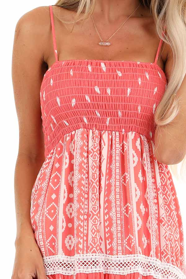 Coral Tribal Print Layered Spaghetti Strap Maxi Dress detail