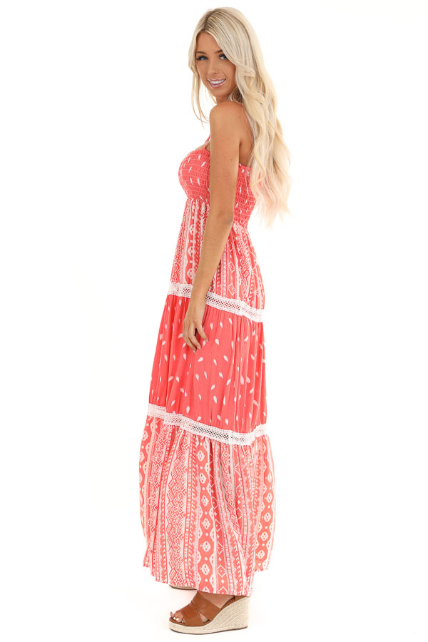 Coral Tribal Print Layered Spaghetti Strap Maxi Dress side full body