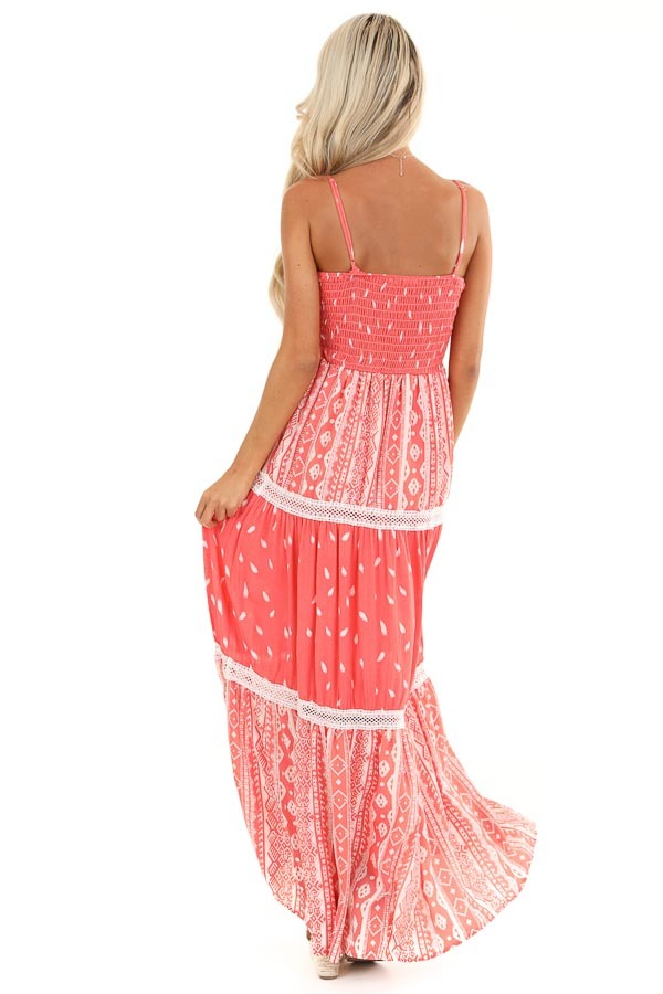 Coral Tribal Print Layered Spaghetti Strap Maxi Dress back full body