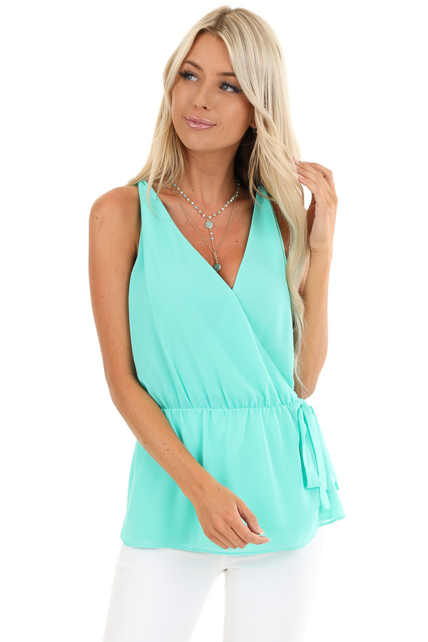 Ice Green Gathered Wrap Tank Top with Side Tie and V Neckline front close up