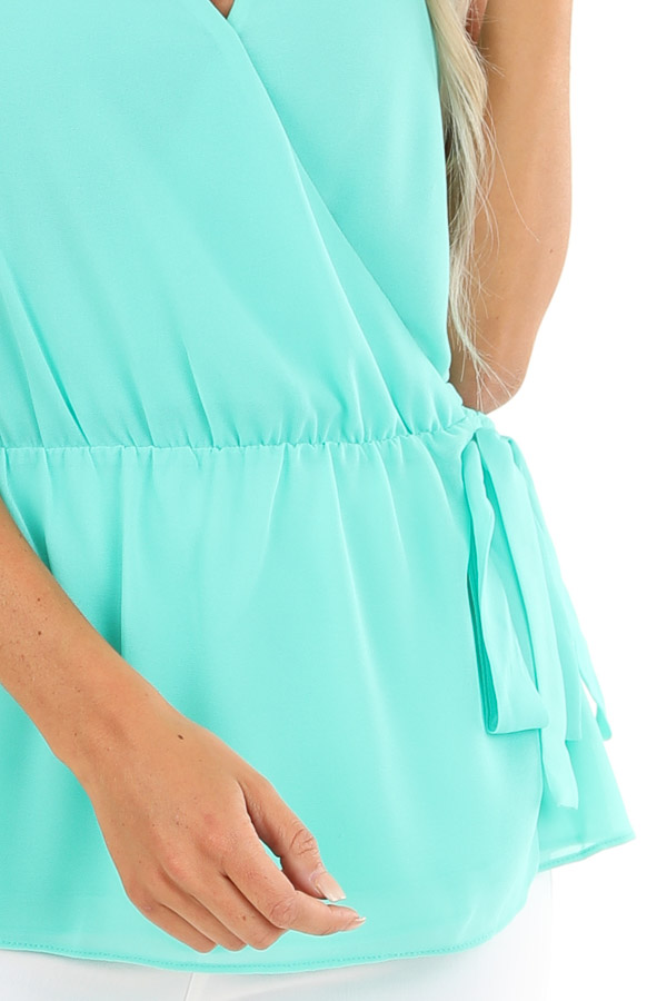 Ice Green Gathered Wrap Tank Top with Side Tie and V Neckline detail