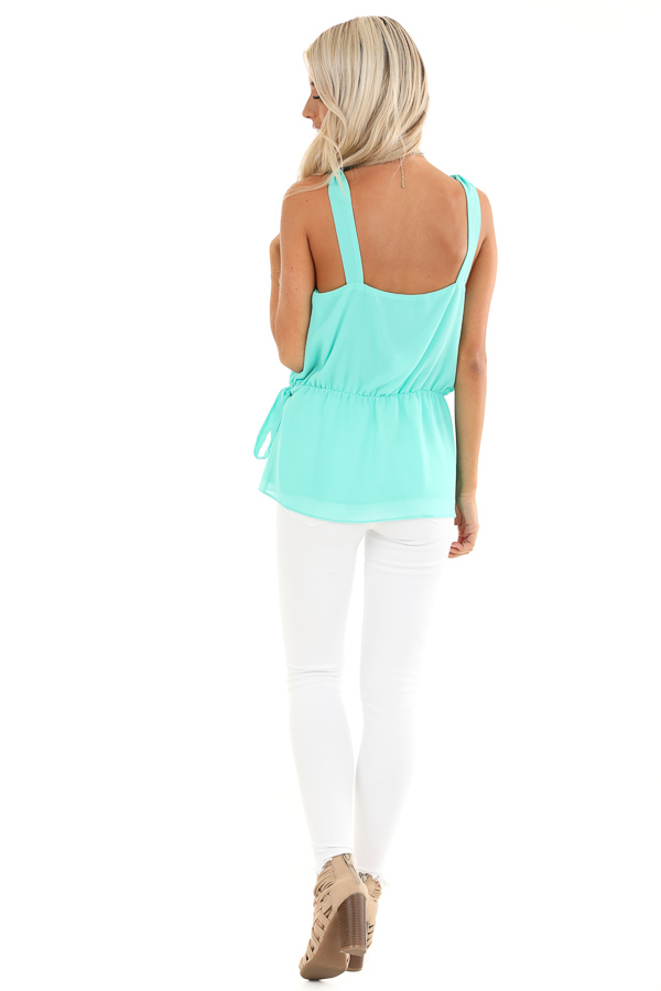 Ice Green Gathered Wrap Tank Top with Side Tie and V Neckline back full body