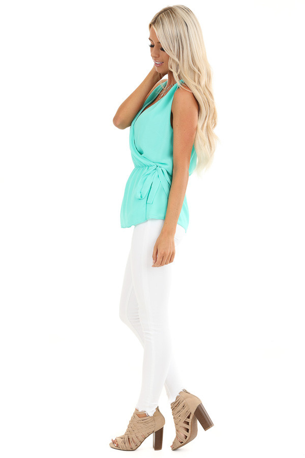 Ice Green Gathered Wrap Tank Top with Side Tie and V Neckline side full body
