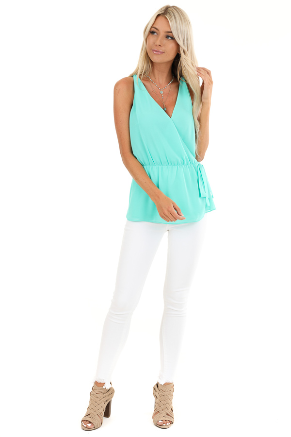 Ice Green Gathered Wrap Tank Top with Side Tie and V Neckline front full body
