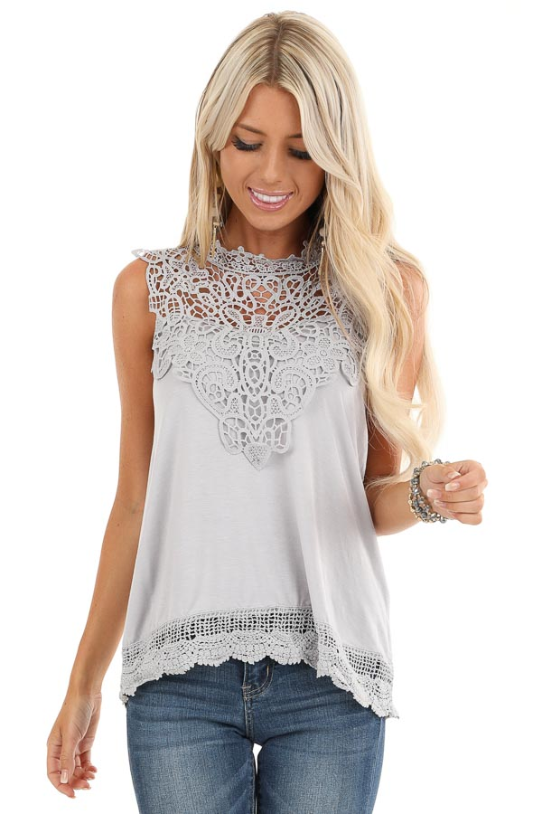 Cloud Grey Sleeveless Top with Crochet Overlay and Hemline front close up