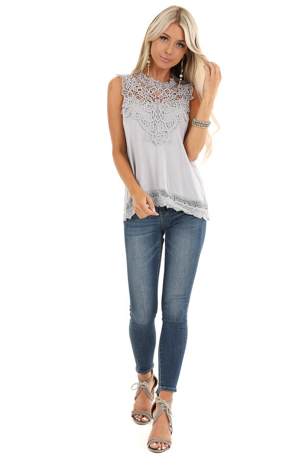 Cloud Grey Sleeveless Top with Crochet Overlay and Hemline front full body