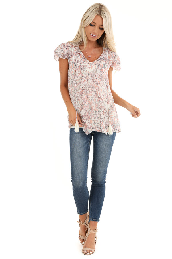Ivory and Peach Sheer Blouse with Ruffle and Tassel Details front full body