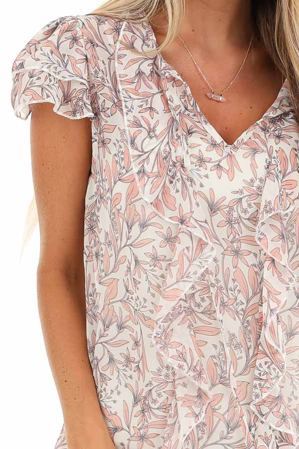 Ivory and Peach Sheer Blouse with Ruffle and Tassel Details detail
