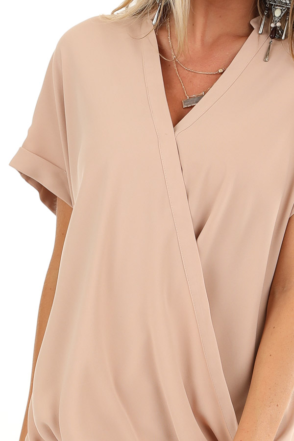 Champagne Crossover Blouse with Short Cuffed Sleeves detail