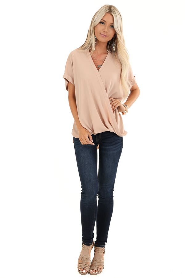 Champagne Crossover Blouse with Short Cuffed Sleeves front full body