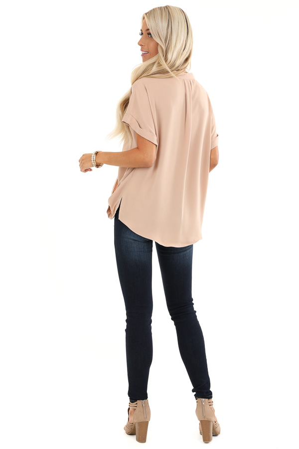 Champagne Crossover Blouse with Short Cuffed Sleeves back full body