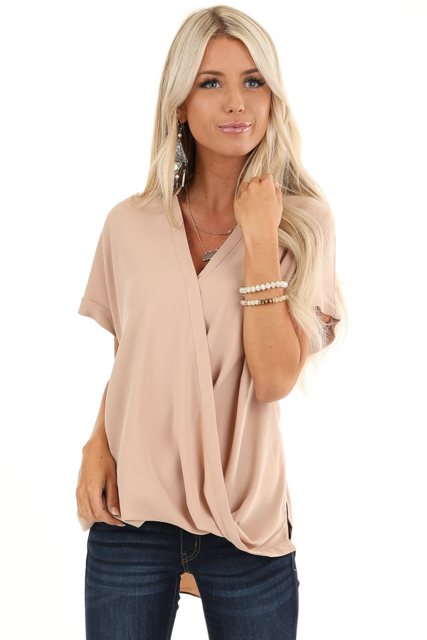 Champagne Crossover Blouse with Short Cuffed Sleeves front close up