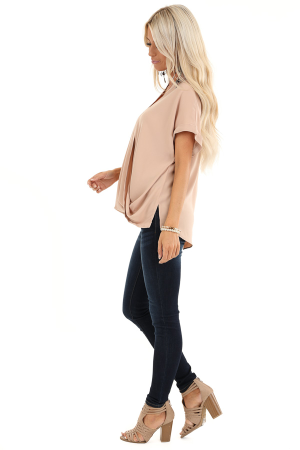 Champagne Crossover Blouse with Short Cuffed Sleeves side full body