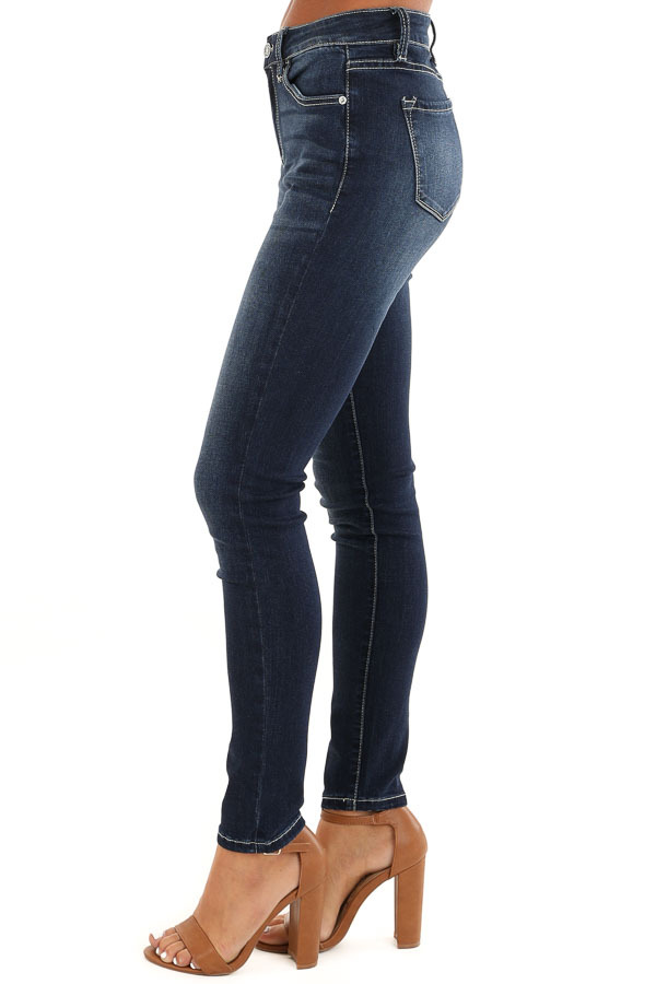 Dark Wash 5 Pocket Stretchy Skinny Denim Jeans side view