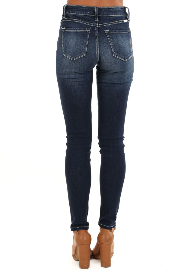 Dark Wash 5 Pocket Stretchy Skinny Denim Jeans back view