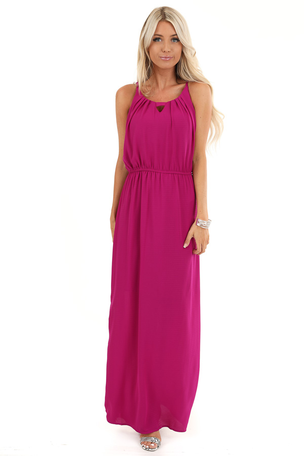 Violet Purple Sleeveless Keyhole Maxi Dress with Slits front full body