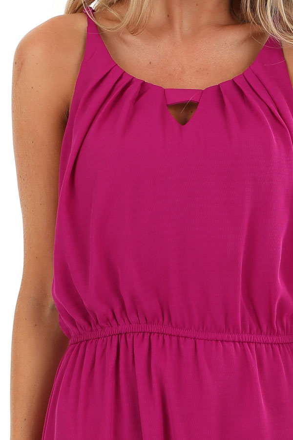 Violet Purple Sleeveless Keyhole Maxi Dress with Slits detail