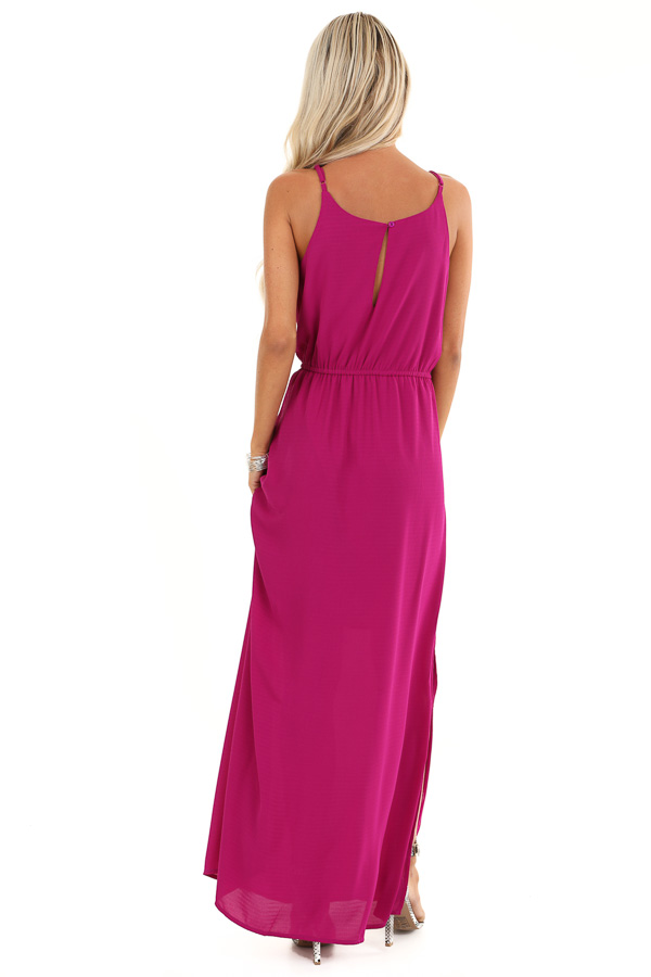 Violet Purple Sleeveless Keyhole Maxi Dress with Slits back full body