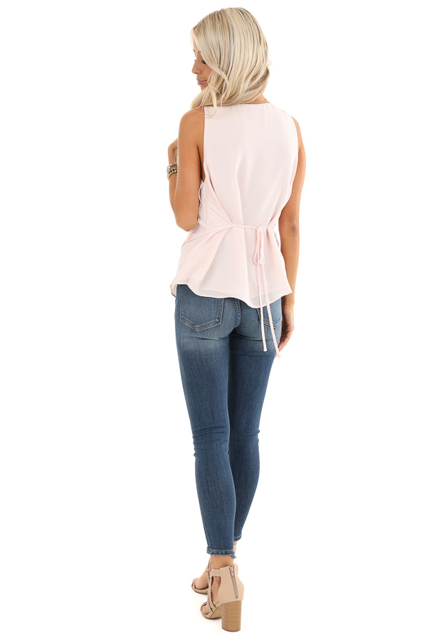 Baby Pink Draped Surplice Sleeveless Blouse with V Neckline back full body