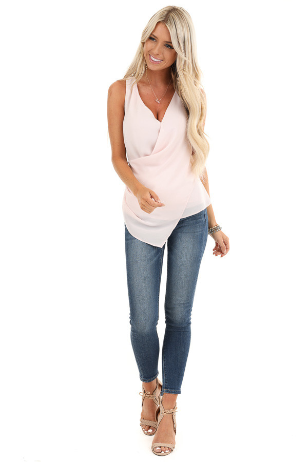 Baby Pink Draped Surplice Sleeveless Blouse with V Neckline front full body