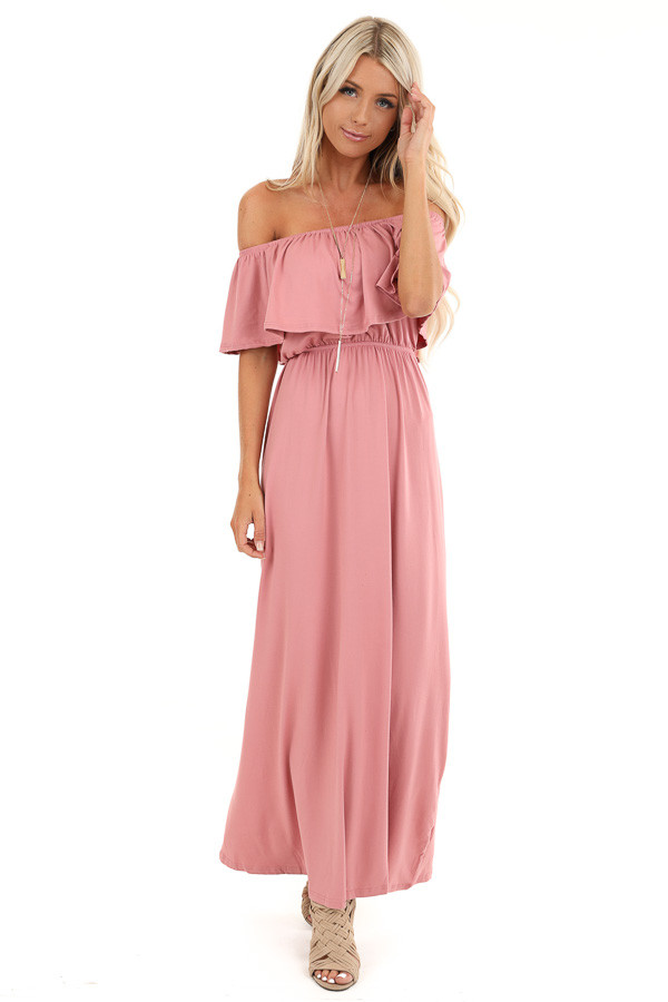 Mauve Off Shoulder Maxi Dress with Ruffle Overlay front full body