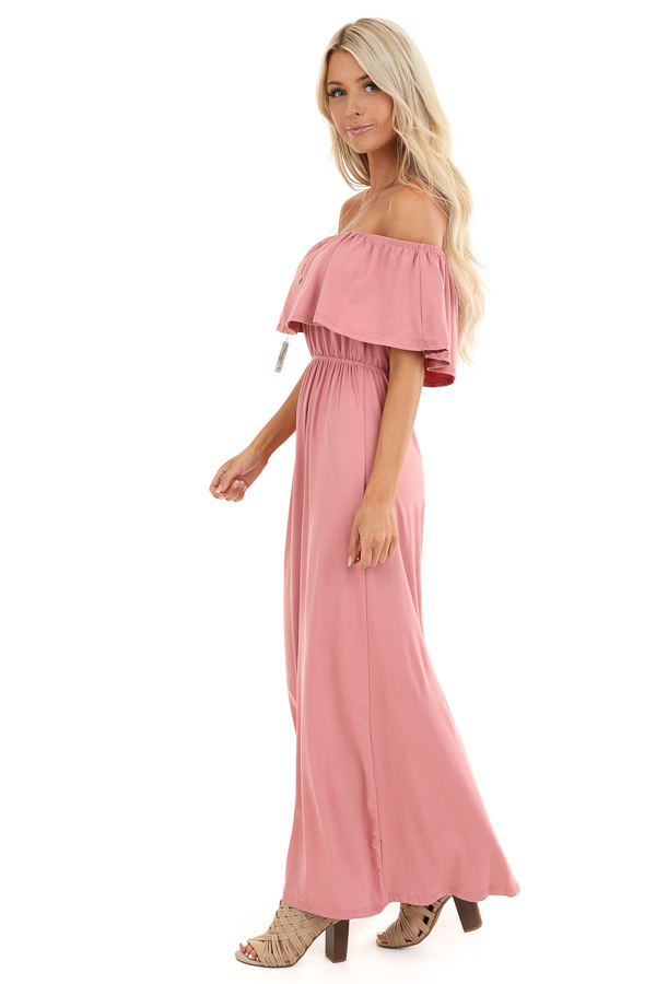 Mauve Off Shoulder Maxi Dress with Ruffle Overlay side full body