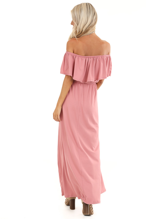 Mauve Off Shoulder Maxi Dress with Ruffle Overlay back full body