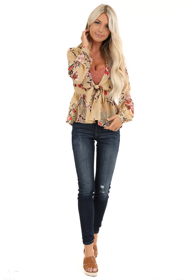 Taupe Floral Print Top with Deep V Neckline and Tie Detail front full body