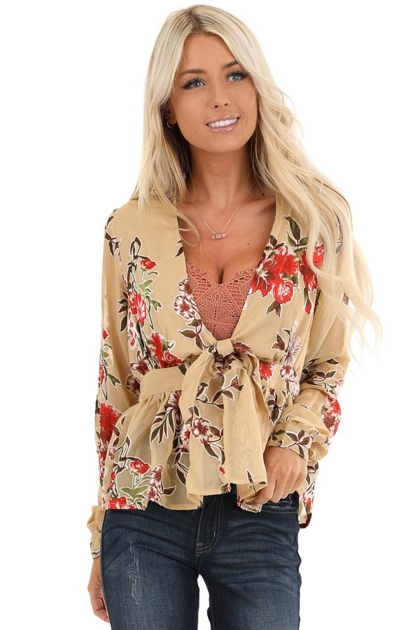Taupe Floral Print Top with Deep V Neckline and Tie Detail front close up
