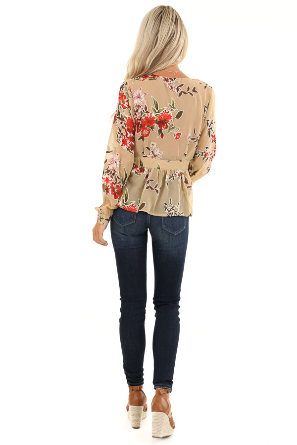 Taupe Floral Print Top with Deep V Neckline and Tie Detail back full body