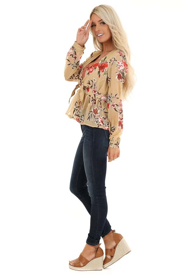 Taupe Floral Print Top with Deep V Neckline and Tie Detail side full body